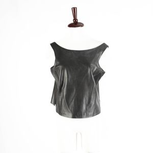 DONNA KARAN – Black Leather Tank Top – Size 10